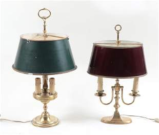 TWO BRASS ADJUSTABLE TABLE LAMPS CIRCA 1940