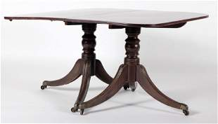 19TH C. MAHOGANY DINING TABLE WITH LEAVES