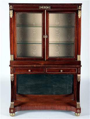 2 PART 19TH C. ENGLISH REGENCY STYLE CABINET