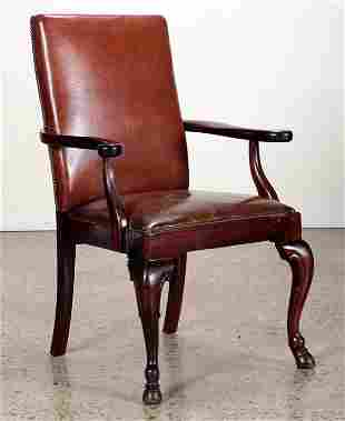 MAHOGANY & LEATHER ARMCHAIR C. 1920
