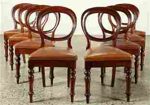 SET OF 8 CONTINENTAL MAHOGANY CHAIRS C. 1880