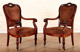 PAIR 19TH C. LOUIS PHILIPPE STYLE ARM CHAIRS