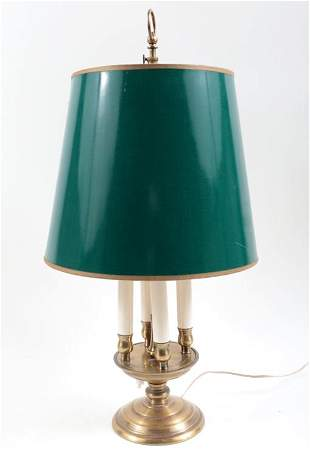 BRASS BOUILOTTE LAMP WITH SHADE