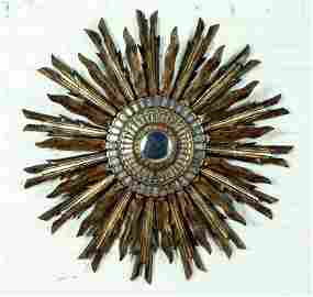 GILT WOOD STARBUST MIRROR MANNER LINE VAUTRIN 197