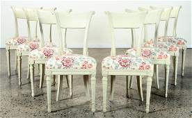SET 8 DIRECTOIRE STYLE FRENCH DINING CHAIRS C.193