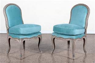 PAIR PAINTED FRENCH SIDE CHAIRS SHAPELY FRAME 192