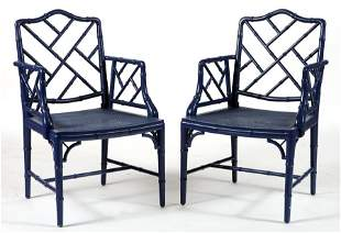 PAIR HOLLYWOOD REGENCY FAUX BAMBOO ARM CHAIRS
