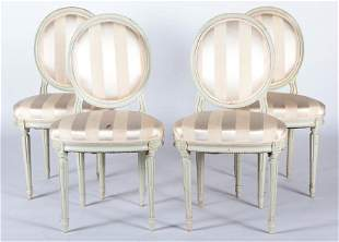 SET 4 LOUIS XVI STYLE PAINTED SIDE CHAIRS