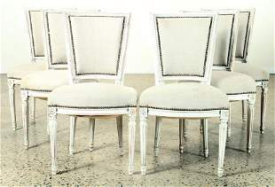SET 6 PAINTED FRENCH DINING CHAIRS C.1940