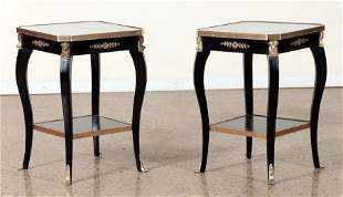 PAIR FRENCH EMPIRE STYLE TABLES MARBLE TOP C.1940