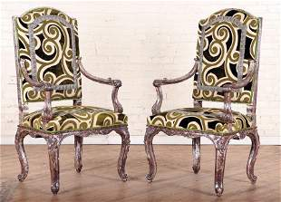 PAIR CARVED & SILVERED LOUIS XV STYLE ARM CHAIRS