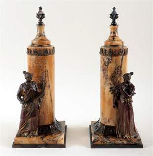 PAIR 19TH CENTURY AUSTRIAN BRONZE AND MARBLE URNS