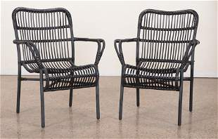 PAIR PAINTED FRENCH RATTAN ARM CHAIRS C.1970