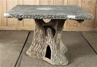 TWO PIECE CAST STONE FAUX BOIS GARDEN TABLE