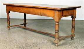 19TH C. FRENCH ARM TABLE TURNED LEGS