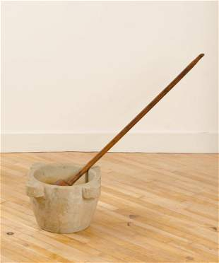 LARGE WOOD PESTLE AND A MARBLE MORTAR