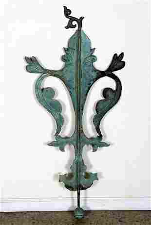 LATE 19TH CENTURY VERDIGRIS COPPER WEATHERVANE