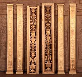 THREE PAIRS OF GILT BRONZE PILASTERS CIRCA 1900