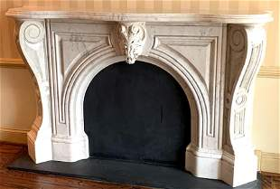 LATE 19TH C. AMERICAN WHITE MABRLE MANTLE