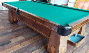 INLAID WALNUT BRUNSWICK POOL TABLE CIRCA 1930