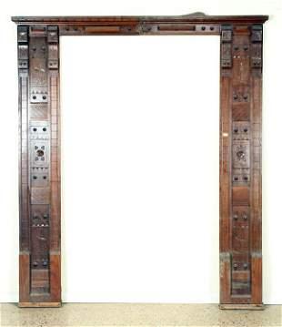CARVED WALNUT EASTLAKE STYLE DOOR SURROUND C.1880