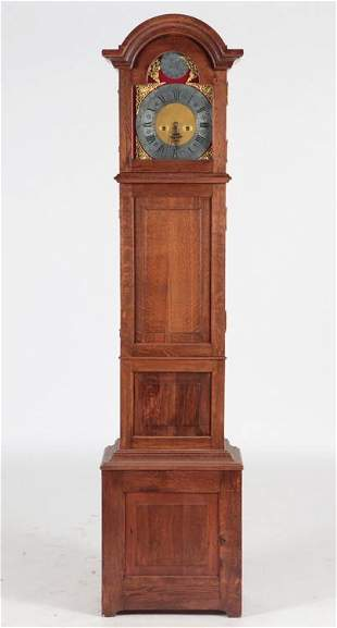 GERMAN GRANDFATHER CLOCK SOLID OAK CASE C.1800