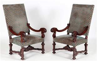 PAIR OF LATE 19TH C. CARVED WALNUT ARMCHAIRS