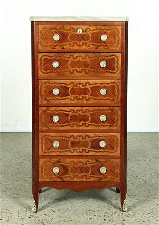 SIX DRAWER MARBLE TOP CHEST OF DRAWERS 1950