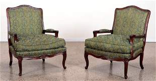 PAIR LOUIS XV STYLE FRENCH OPEN ARM CHAIRS 1940
