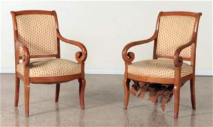 PAIR FRENCH RESTORATION STYLE MAHOGANY ARM CHAIRS