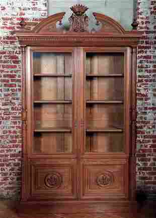LARGE FRENCH WALNUT TWO DOOR BOOKCASE C.1890