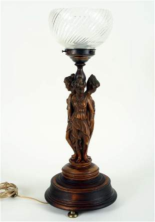ANTIQUE CARVED WOOD LAMP THREE GRACES