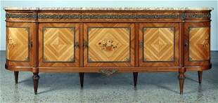 FRENCH TULIP WOOD FLORAL INLAID SIDEBOARD C.1945