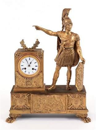 LARGE ANTIQUE GILT BRONZE FRENCH CLOCK WARRIORS