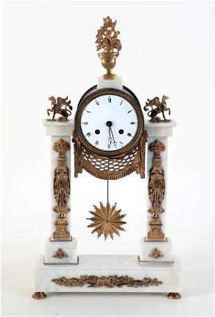 19TH CENTURY BRONZE AND MARBLE PORTICO CLOCK