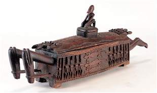 AFRICAN DOGON CASKET CARVED FIGURES AND LIZARDS