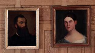 TWO 19TH CENTURY OIL ON CANVAS PORTRAIT PAINTINGS