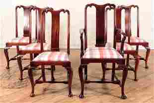 SET 6 CABINET MADE SOLID MAHOGANY DINING CHAIRS