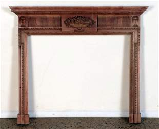 ADAMS STYLE CARVED PINE ENGLISH MANTLE PIECE
