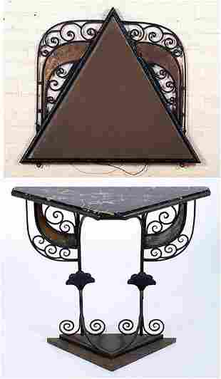 IRON MARBLE TOP CONSOLE TABLE SIGNED SALTERINI
