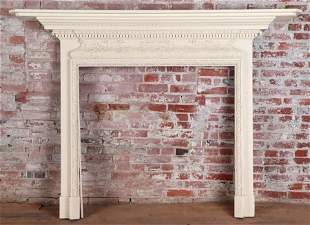 GEORGIAN STYLE CARVED WOOD FIRE PLACE MANTLE 1900