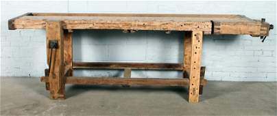 LATE 19TH C. WORK BENCH WITH TWO VICE GRIPS