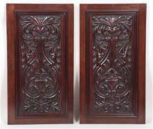 TWO CARVED WALNUT CABINET DOORS CIRCA 1910