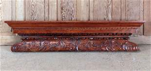 PAIR CARVED MAHOGANY MANTLE SHELVES OR OVERDOORS