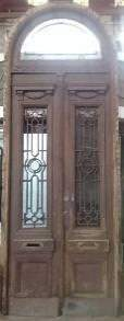 PAIR EXTERIOR DOORS IN FRAME WITH TRANSOM C.1900