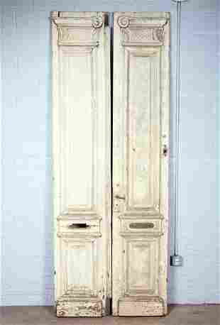 PAIR OF CARVED AND PAINTED WOOD DOORS CIRCA 1890