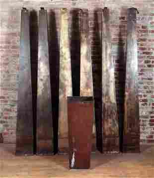 SET OF 6 SHEET METAL INDUSTRIAL WALL SCONCES