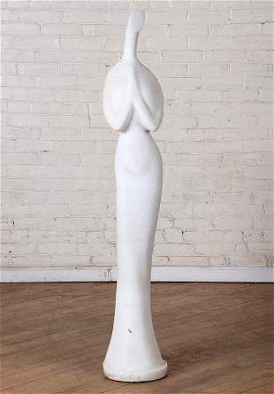 CARVED MARBLE ABSTRACT SCULPTURE OF WOMAN SIGNED