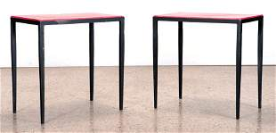 PAIR IRON & LEATHER TABLES MANNER JEANMICHEL FRANK