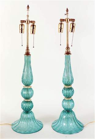 PAIR MURANO GLASS BRASS TABLE LAMPS